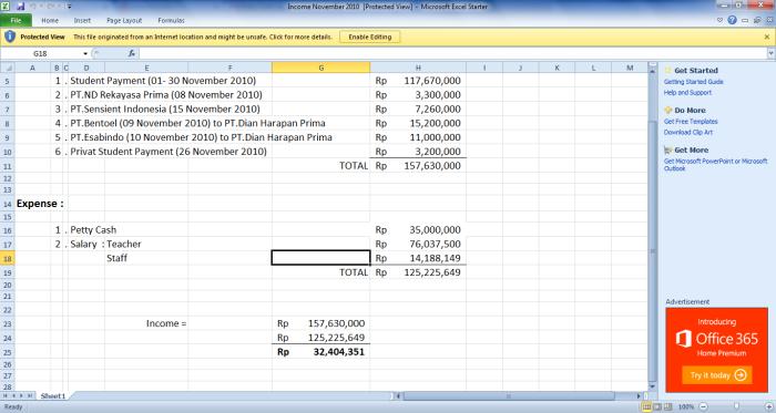 TBI Kelapa Gading Income Statement (No Tax) November 2010