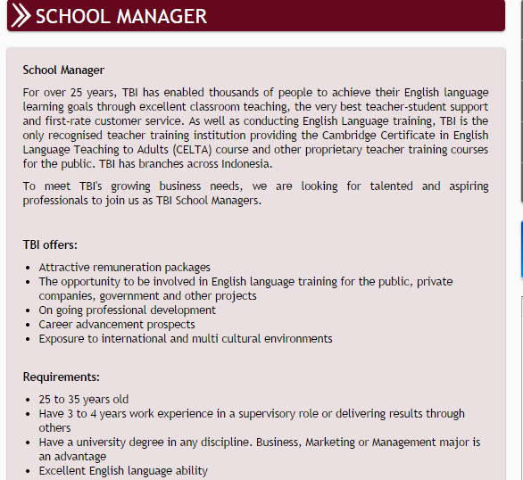 TBI's School Manager job dscription from their website