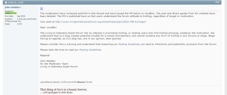 Screen of TBI's warning for trolling